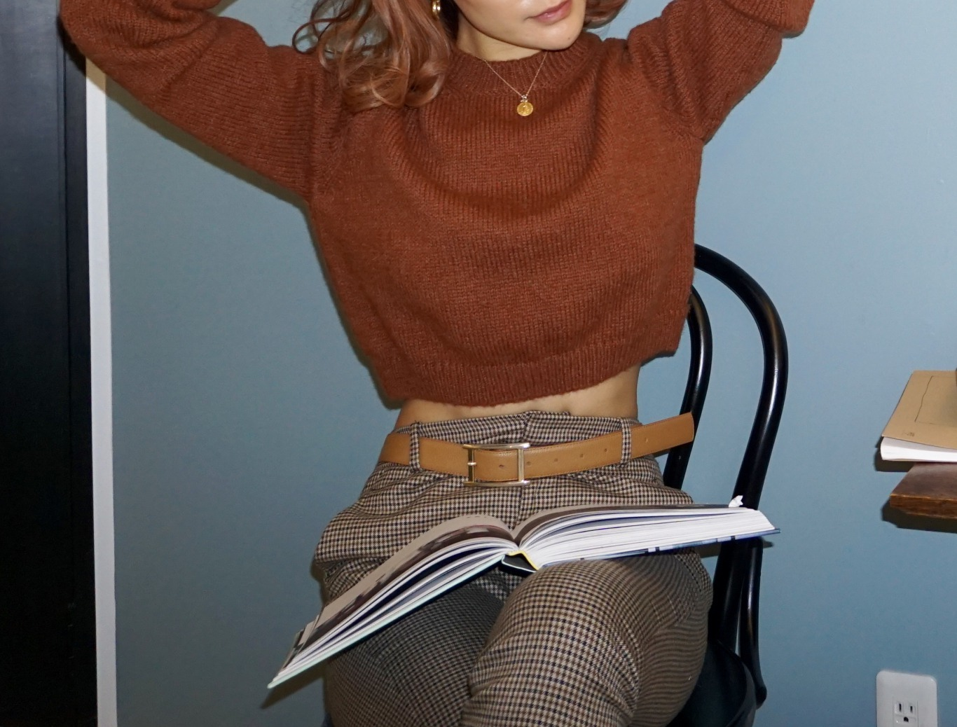 Cropped Knitwear / RED brown