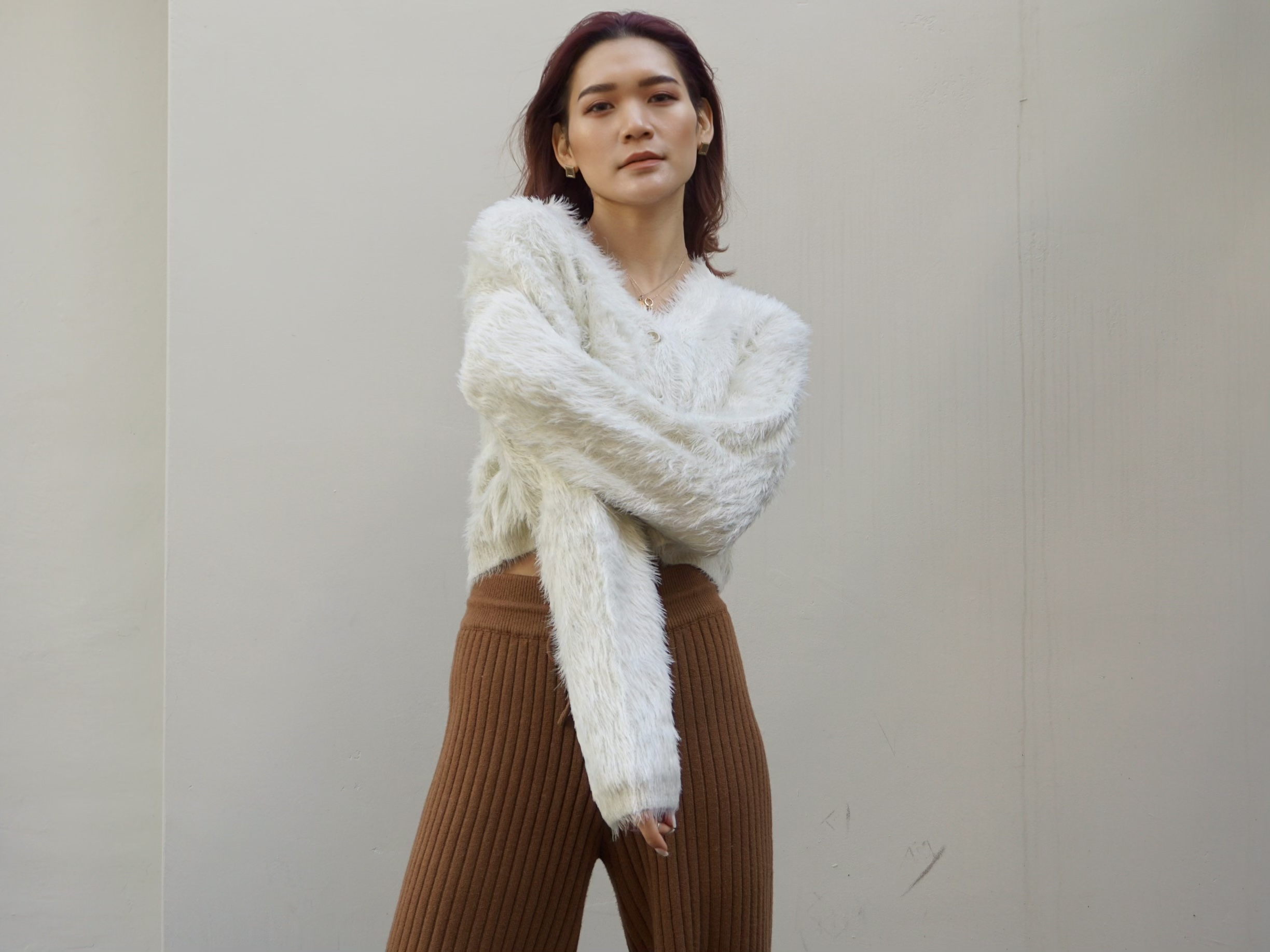 Cropped cardigan / White
